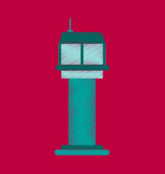 Flat icon in shading style airport control tower vector