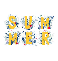Floral word summer vector