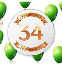 Golden number thirty four years anniversary vector