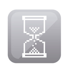 Grayscale square with hourglass icon vector