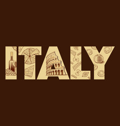 Hand drawn italy pizza pisa tower colloseum roma vector