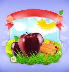 Juicy apples label design vector image
