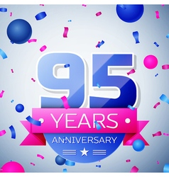 Ninety five years anniversary celebration on grey vector