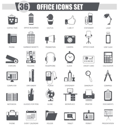 Office black icon set Dark grey classic vector image
