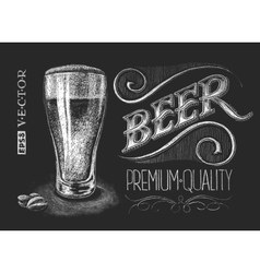 Poster of beer on the chalkboard vector image vector image
