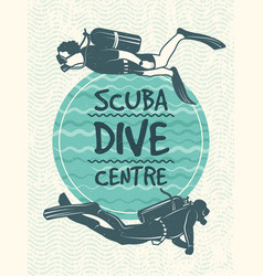 retro poster for sport club of diving vector image