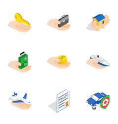 risk icons isometric 3d style vector image