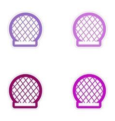 Set of paper stickers on white background building vector