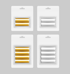 set of silver yellow alkaline aa batteries vector image vector image