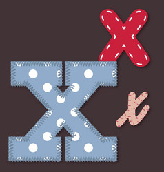 Set of stitched font - Letter X vector image vector image