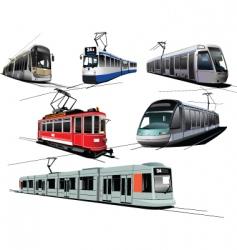 Six trams vector