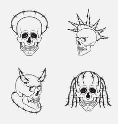 skull symbols set collection of dark vector image
