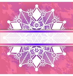 Template frame for card with lace snowflake vector
