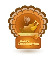 Thanksgiving roast turkey isolated on white vector