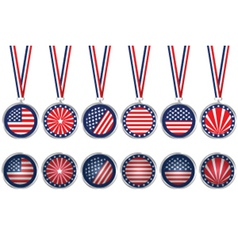 USA medals and buttons vector image