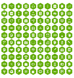 100 knowledge icons hexagon green vector