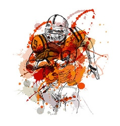 Colored hand sketch of american football player vector