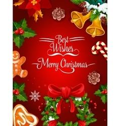 Christmas holiday poster and greeting card design vector image