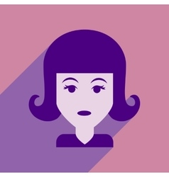 Flat web icon with long shadow women s haircut vector