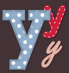 Set of stitched font - letter y vector