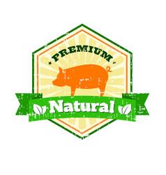 Butcher shop vintage logo natural food farm logo vector
