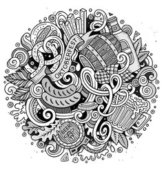 Cartoon cute doodles hand drawn oktoberfest vector