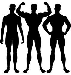 Set athletic man silhouette in different poses vector
