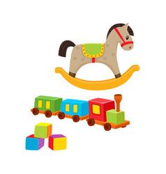 Baby wooden toys train rocking horse blocks vector