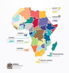 Africa infographic map template jigsaw concept vector