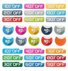 Colorful discount stickers labels set on white vector
