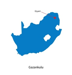 Detailed map of gazankulu and capital city giyani vector