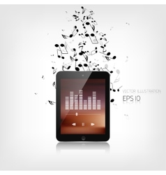 Realistic detalized tablet with music notes vector