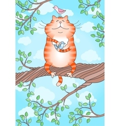 Funny cat holding little bird in its paws vector