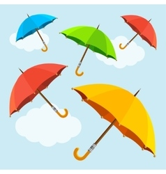 Colorful fly soaring umbrellas background vector