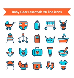 Baby line icons colored 1 vector