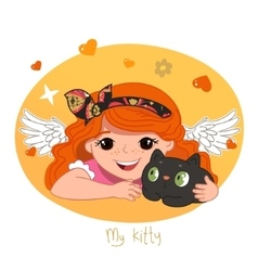 Cute redhead girl and her kitty vector