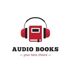Modern audio books store logo red book and vector