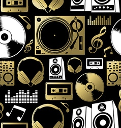 Music seamless pattern icon dj rock party club set vector