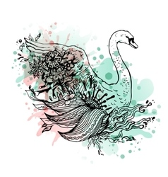 Swan watercolor abstract graphic colored bird vector