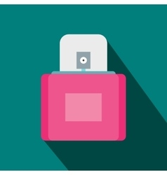 Pink female perfume flacon with sprayer icon vector