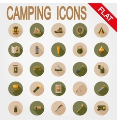 Camping icons flat vector