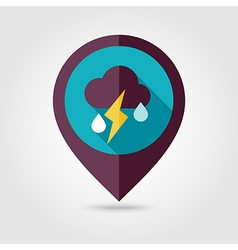 Cloud rain lightning flat pin map icon weather vector