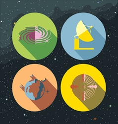 Space icons set with stars and galaxies vector
