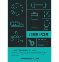 Fitness club flyer or poster with line icons vector