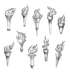 Antique flaming torches sketches set vector