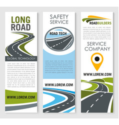 Banners of road safery construction company vector