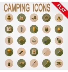 Camping icons flat vector