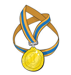 cartoon image of first place medal vector image