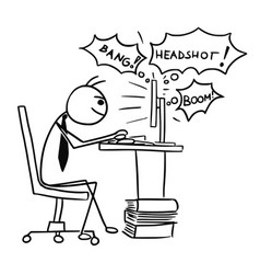 Cartoon of man playing video game on computer vector