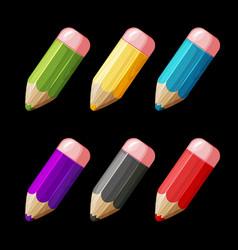 cartoon set of colored wood pencils vector image vector image